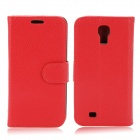 Stylish Flip-Open PU Leather Case w/ Card Slots for Samsung Galaxy S4 / i9500 - Red + Black