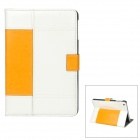 Protective PU Leather Case Stand w/ Auto Wake-up / Sleep for iPad Mini - White + Yellow