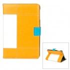 Protective PU Leather Case Stand w/ Auto Wake-up / Sleep for Ipad MINI - White + Yellow + Blue