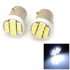 BA9S 0.8W 32lm 8-SMD 1206 LED White Light Car Signal Light / Steering Light - (12V / 2 PCS)