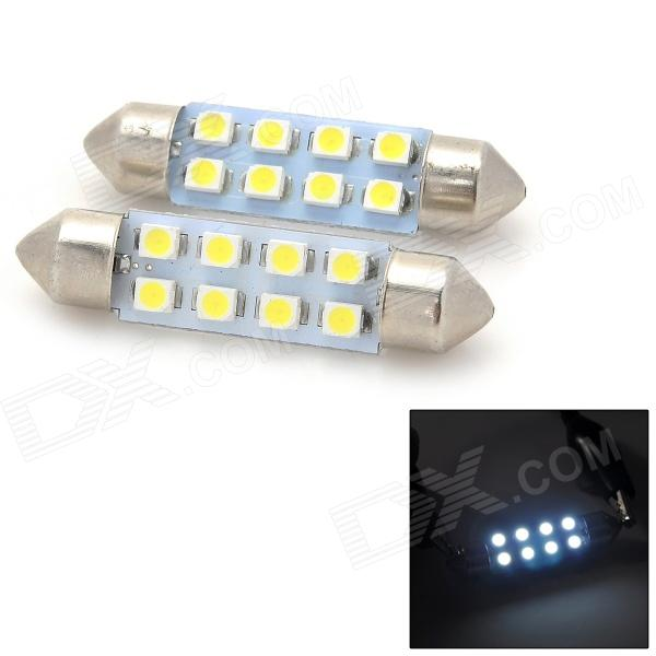 Festoon 39mm 0.8W 32lm 8-SMD 1210 LED White Light Car Reading Lamp / Door Lamp - (12V / 2 PCS)