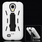 Retro Style Protective Back Case w/ Stand for Samsung Galaxy S4 - Black + White