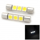 HongYue Festoon 31mm 0.6W 30lm 3-SMD 5050 LED White Light Car Reading Lamps - (12V / 2 PCS)