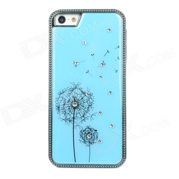 Stylish Dandelion Style Protective Rhinestone Plastic Back Case for Iphone 5 - Blue cute girl pattern protective rhinestone decoration back case for iphone 5 light pink light blue