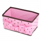 Polka Dot Pattern Foldable Cosmetic Storage Box - Pink + Brown