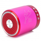 T-2020 Portable Mini Rechargeable 2-CH Media Player Speaker w/ USB 2.0 - Deep Pink + Red + Silver