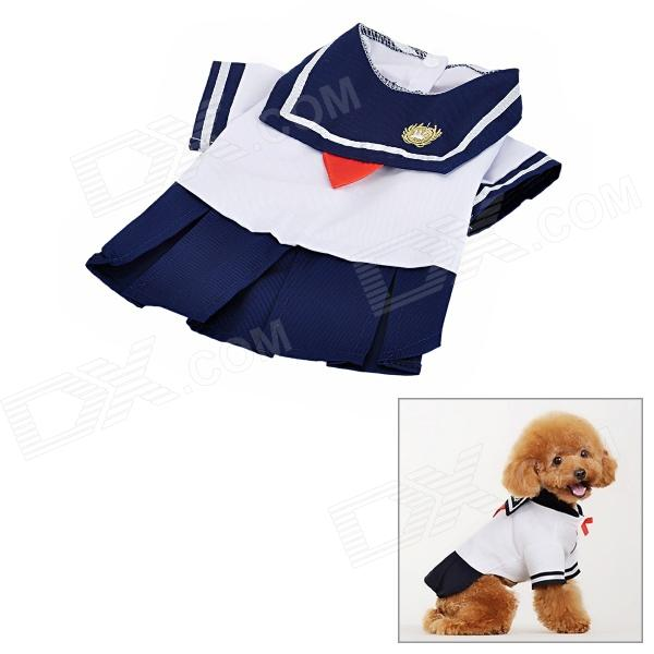 Cute Doggie Sailor Suit Style Apparel Thin Coat - Navy Blue + White (Size L) roomble подушка mickey doggie