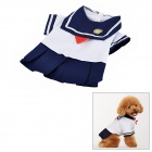 Cute Doggie Sailor Suit Style Apparel Thin Coat - Navy Blue + White (Size L)