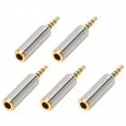 Stainless Steel 3.5mm Female to 2.5mm Male Audio Adapters - Golden + Silver (5 PCS)