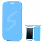 Protective TPU Flip Open Case for Samsung i9500 Galaxy S4 - Blue