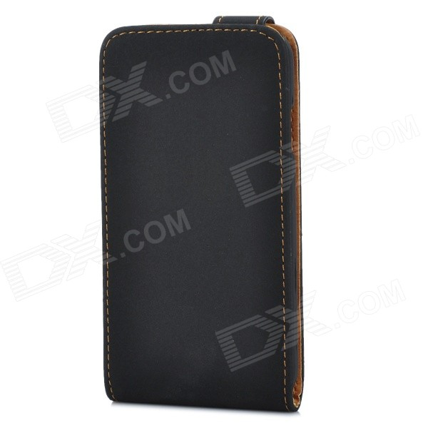 Protective Top Flip Open PU Leather Bag Pouch for Samsung Galaxy S4 i9500 - Black cm001 3d skeleton pattern protective plastic back case for samsung galaxy s4