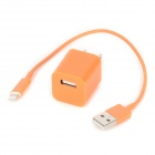 USB AC Charger w/ Charging Cable for iPhone 5 - Orange (AC 100~240V / US Plug)