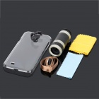 8X Magnification + Plastic Back Case for Samsung Galaxy S4 / i9500 - Black + Silver + Transparent