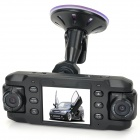 X8000A 1.3 MP CMOS 140' Wide Angle Dual Lens + 180' Rotatable Lens Car DVR w/ GPS / G-sensor - Black