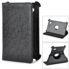 Skull Pattern Protective PU Leather Case w/ Rotary Stand for Samsung Galaxy Tab P3100 - Black
