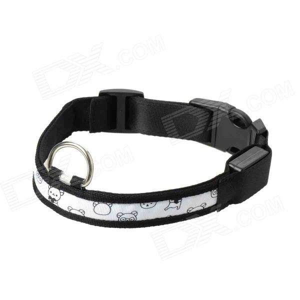Adjustable 3-Mode White Light 1-LED Strip Nylon Pet Safety Collar - White + Black (2 x CR2032)