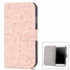 Cute Cartoon Pattern Stylish Artificial Leather Case for Samsung Galaxy S4 / i9500 - Pink