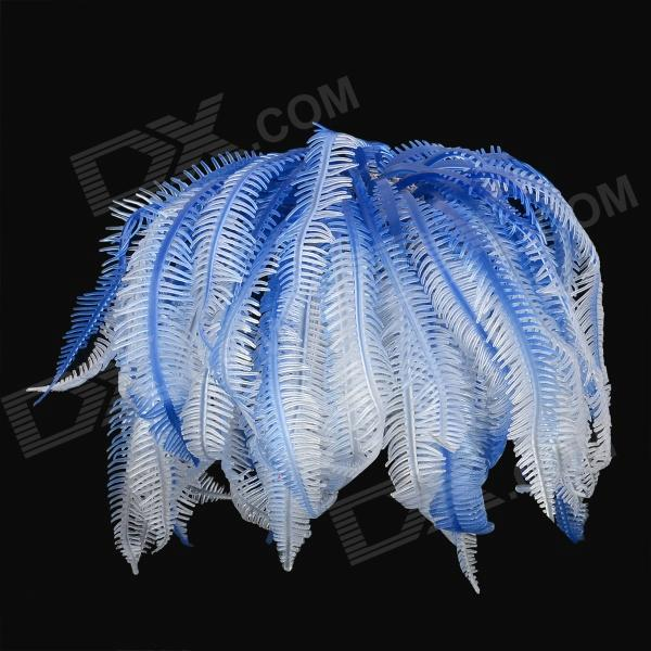 SH 131M Rubber Artificial Soft Coral Decoration for Fish Tank / Aquarium - Blue + White