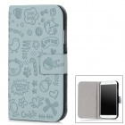Protective PU Leather Flip Open Case for Samsung i9500 - Cadet Blue + Black
