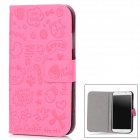Cute Cartoon Pattern Stylish Artificial Leather Case for Samsung Galaxy S4 / i9500 - Deep Pink