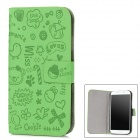 Cartoon Pattern Protective PU Leather + Plastic Case for Samsung i9500 - Ocean Green + Black