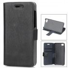 Stylish Flip-Open Artificial Leather Stand Case w/ Card Slots for Blackberry Z10 - Black