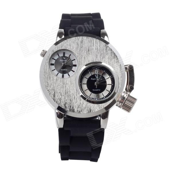 V6 SuperSpeed V0036-S Men's Dual-Dial Quartz Silicone Band Wrist Watch - Black + Silver