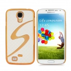 Protective S Style Square Grain Back Case for Samsung Galaxy S4 / i9500 - White + Golden
