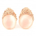 Stylish Albronze Opal Ear Studs for Women - Golden + White