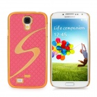 """""""S"""" Style Protective ABS Plastic Back Case for Samsung Galaxy S4 i9500 - Deep Pink + Golden"""