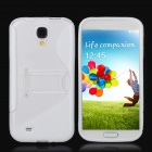 Protective TPU Back Case w/ Stand for Samsung Galaxy S4 i9500 - White