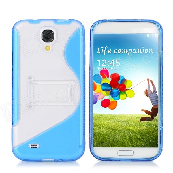 Protective TPU Back Case w/ Stand for Samsung Galaxy S4 i9500 - Blue protective tpu pc back case w stand for samsung galaxy s4 i9500 red transparent
