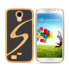 Protective S Style Square Grain Back Case for Samsung Galaxy S4 / i9500 - Black + Golden