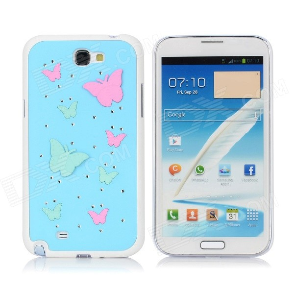 Protective Butter Fly Pattern Back Case w/ Crystal for Samsung N7100 - Blue + Pink + Green + White