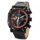 Rifle Scope Design Watch Dial Genuine Leather Band Men's Quartz Wrist Watch - Black (1 x CR2025)
