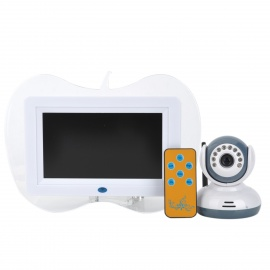 """Multifunction 2.4GHz Wireless 7"""" LCD Baby Monitor w/ SD / Remote Controller - White"""