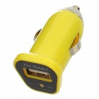 FIN-20 DC 5V 1.5A USB Car Charger for Iphone 4 / 4S / 5 / Samsung i9500 + More - Yellow (DC 12~24V)