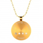 JHE-0125 Round Shape Laser Pattern Stainless Steel Energy Pedant Necklace - Golden