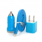 AP-8 Car Charger + US Plug Power Charger Adapter + Lightning 8-Pin Male to USB 2.0 Male Cable - Blue