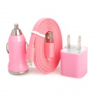 AP-8 Car Charger + US Plug Power Charger Adapter + Lightning 8-Pin Male to USB 2.0 Male Cable - Pink