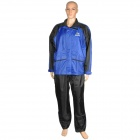 Anoka LZJ001 Outdoor Motorcycle Polyester PVC Waterproof Rain Jacket + Pants - Blue + Black (XXL)