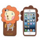 Romane Hello Geeks Pattern Protective Silicone Case for iPhone 5 - Brown