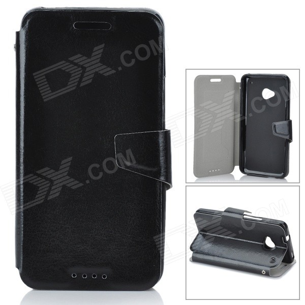 Protective Flip-Open PU Leather Case for HTC One M7 - Black genuine leather protective flip open case for htc one m7 black