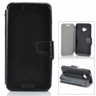 Protective Flip-Open PU Leather Case for HTC One M7 - Black