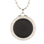JHE-0121 Round Shape Stainless Steel Energy Pedant Necklace w/ Crystal - Black + Silver