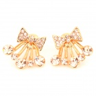 Cute Bowknot w/ Crystal Style Ear Studs for Women - Golden