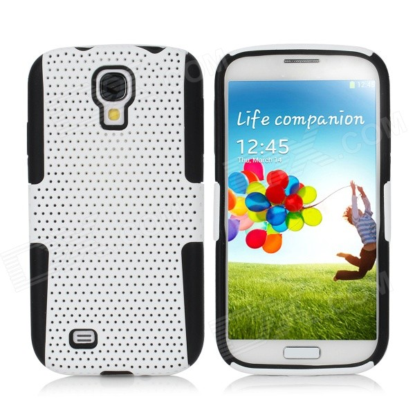 Detachable Protective Silicone + Mesh PC Back Case for Samsung Galaxy S4 i9500 - White + Black 2 in 1 detachable protective tpu pc back case cover for samsung galaxy note 4 black