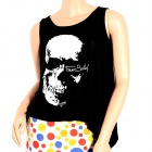 Skull Pattern Sexy Cotton Fringed Backless Sleeveless Vest for Women - White + White