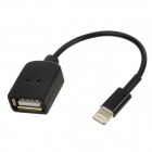 USB Female to Lightning 8-Pin Male Adapter Cable for iPhone 5 / iPad 4th - Black (12.5cm)