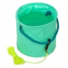 Multifunction Portable Folding PVC Water Bucket w/ Fetching Line for Fishing - Green (3L)